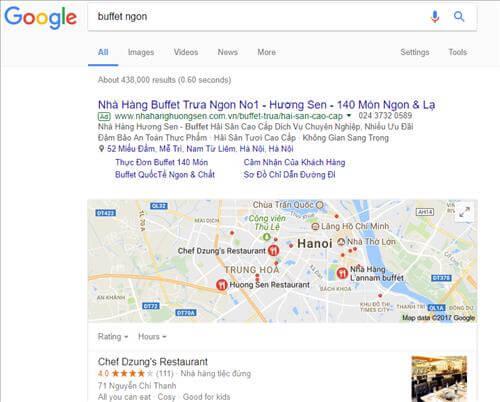 Search từ khóa ngay lập tức sẽ được trả lại kết quả theo local seo